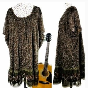 Paisley Floral Lace Trim Lined Flowing Tunic 30XL